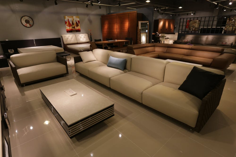 Italian sofas Sydney made displayed in a furniture store